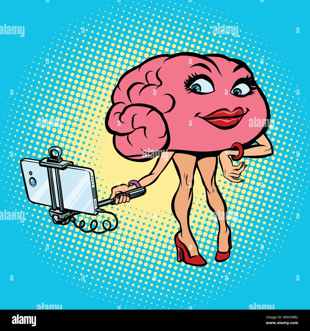 Femme de caractère cerveau photo stick selfies Photo Stock