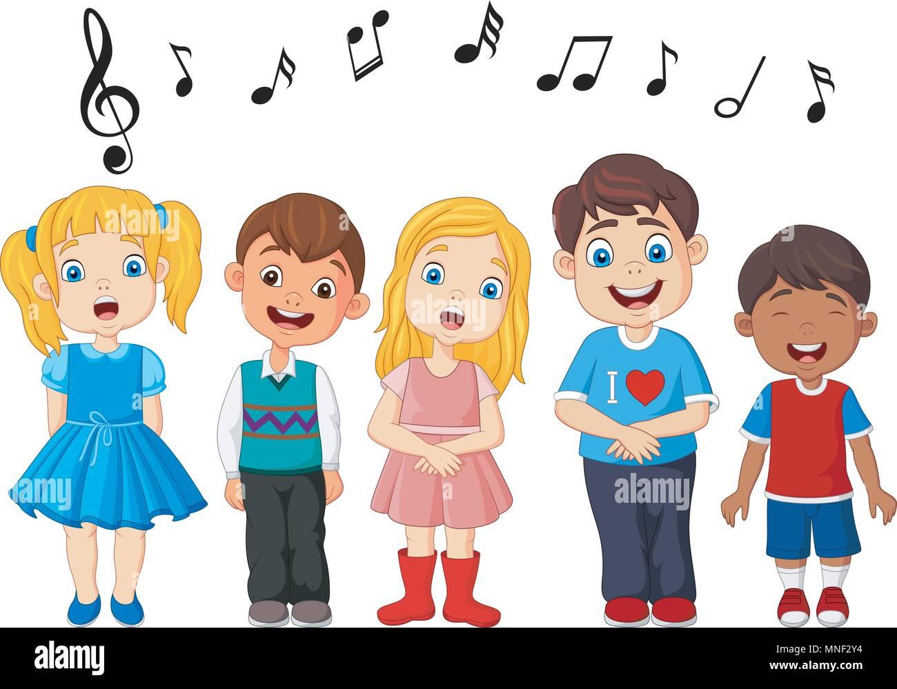 Cartoon groupe d 39 enfants chanter dans la chorale de l 39 cole vecteurs et illustration image - Dessin groupe d enfants ...