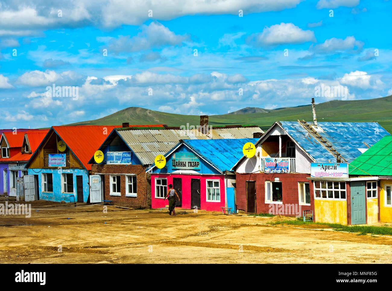 Maisons de thé et les restaurants à service rapide, zone de service sur la route UN0301 près de la Mongolie, Erdenesant Photo Stock