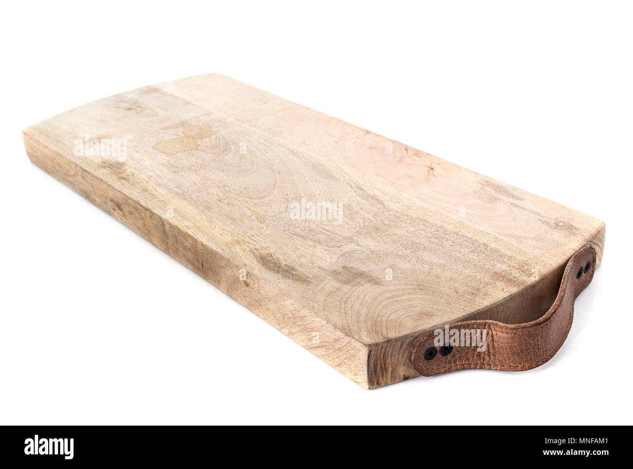 Chopping board in front of white background Photo Stock