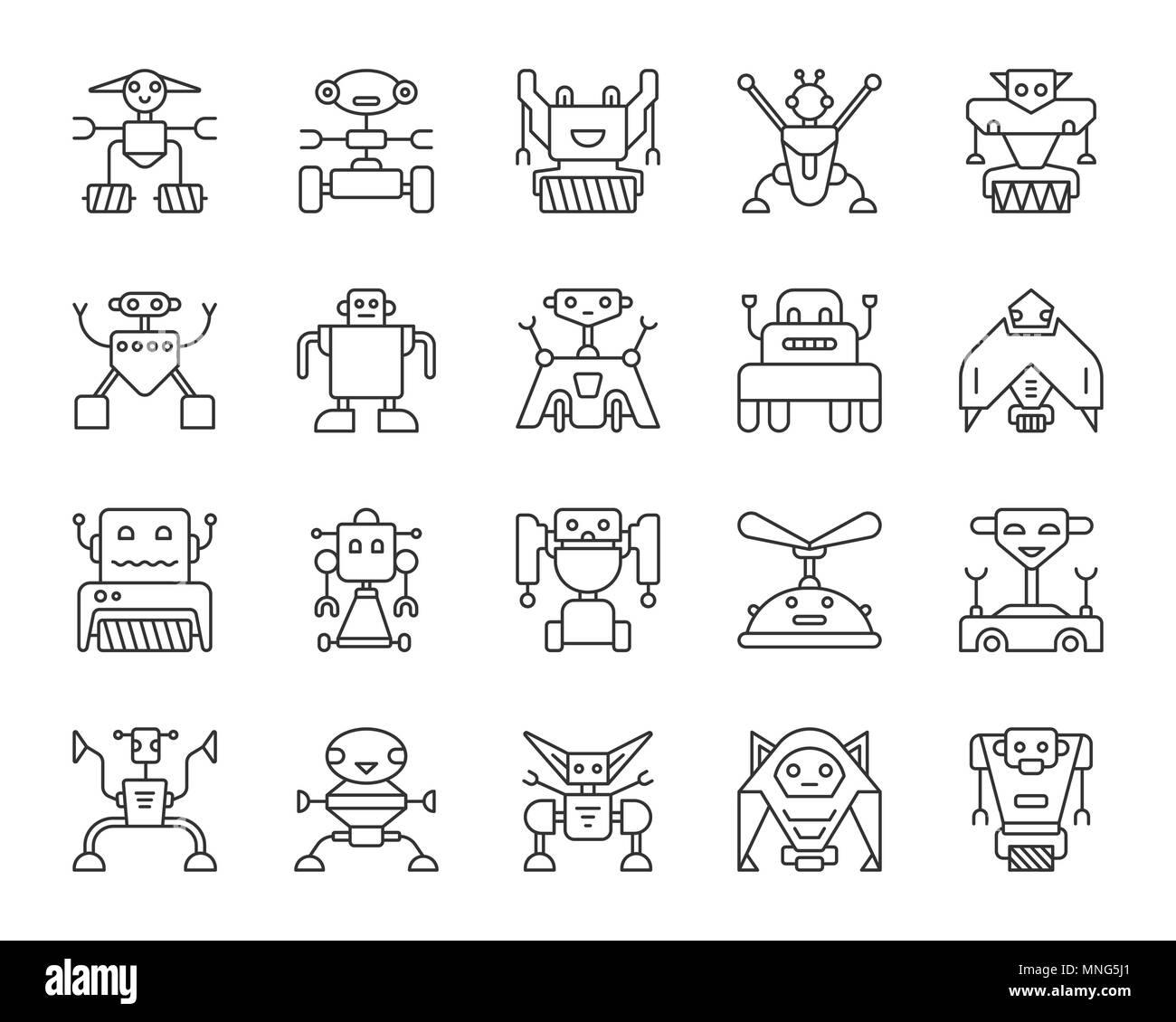Fine ligne Robot icons set. Kit de connexion web aperçu de jouet. L'icône de la ligne de caractères collection comprend transformateur, cyborg, la machine. Robot simple isolé bl Illustration de Vecteur