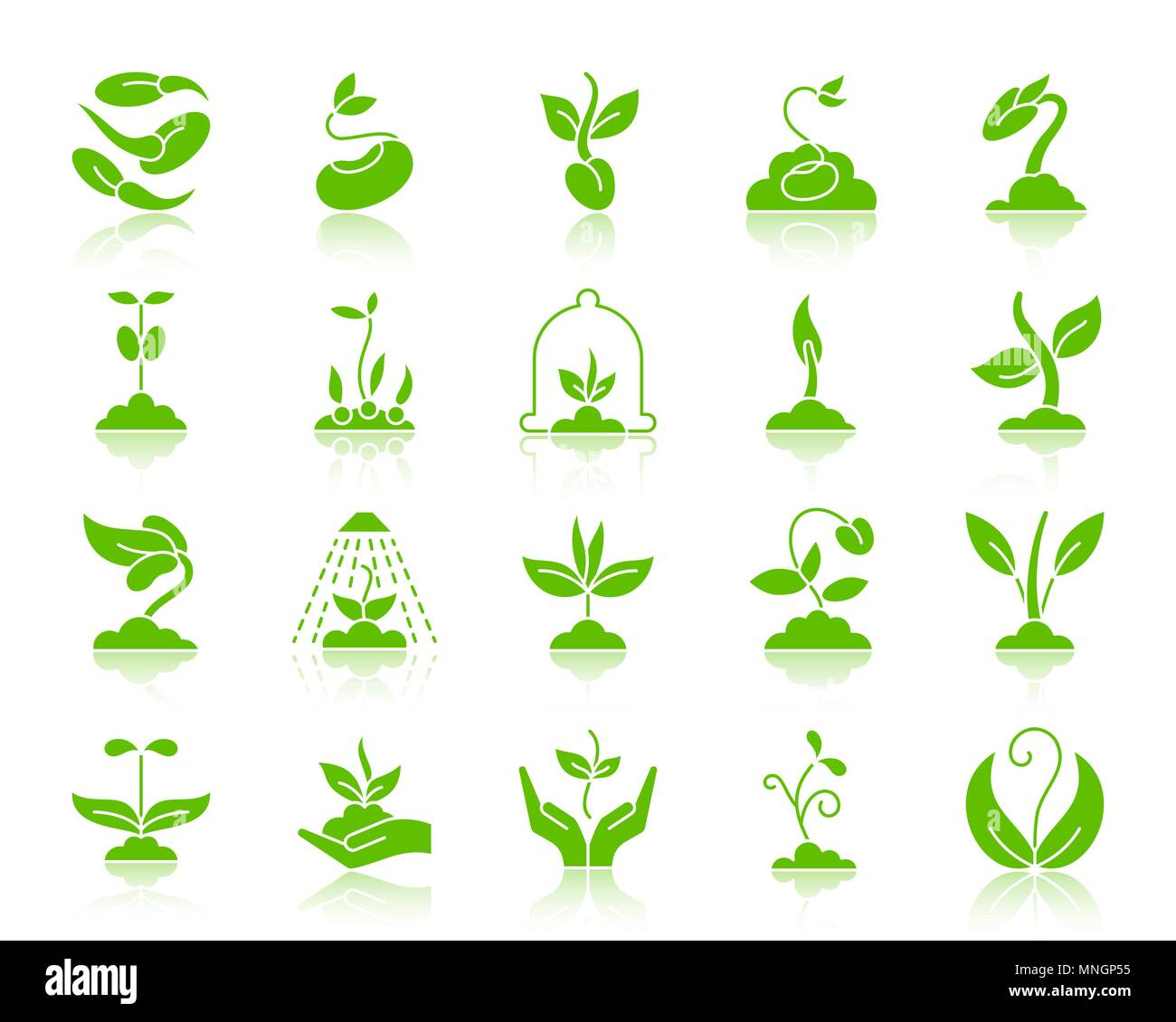 Sprout green silhouette icons set. Kit de connexion Web de graines. Pictogramme monochrome plante collection comprend fleur, herbe, arbre. Symbole de germes simples wit Illustration de Vecteur