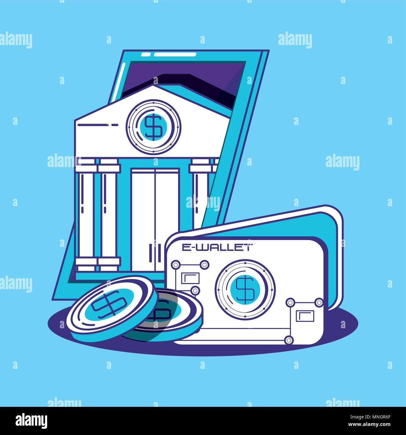 La conception de la technologie financière avec e-wallet et bank building sur fond bleu, design coloré. vector illustration Illustration de Vecteur