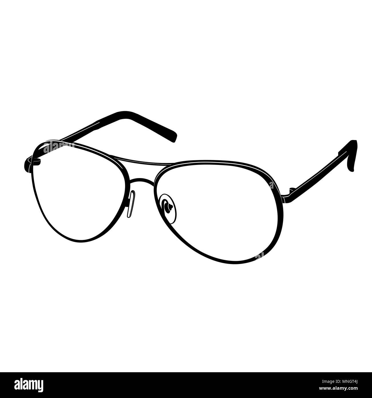 e07130a01dd752 Vecteur icône lunettes télévision, logo, contours, ligne de contour dessin,  illustration en noir et blanc. Accessoire de mode élégant, isolé sur fond  blanc