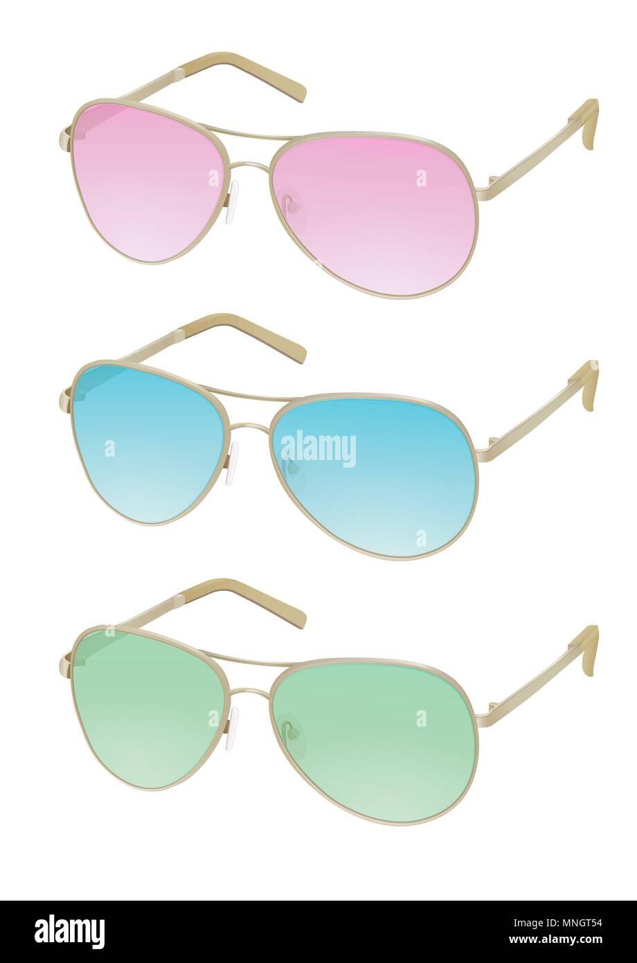 a20f2850803557 Lunettes colorées, vector illustration réaliste. Lunettes fashion élégant  avec rose, bleu, vert de l écran solaire et lentilles lunettes rim or fer  élégant, ...