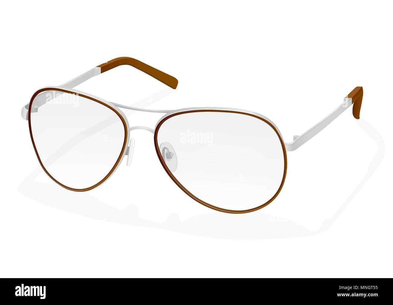 ce03f4f21cf081 Vector illustration réaliste de lunettes. La mode élégante avec lunettes  lentilles transparentes et de fer, verres rim argent accessoire mode  élégante, ...