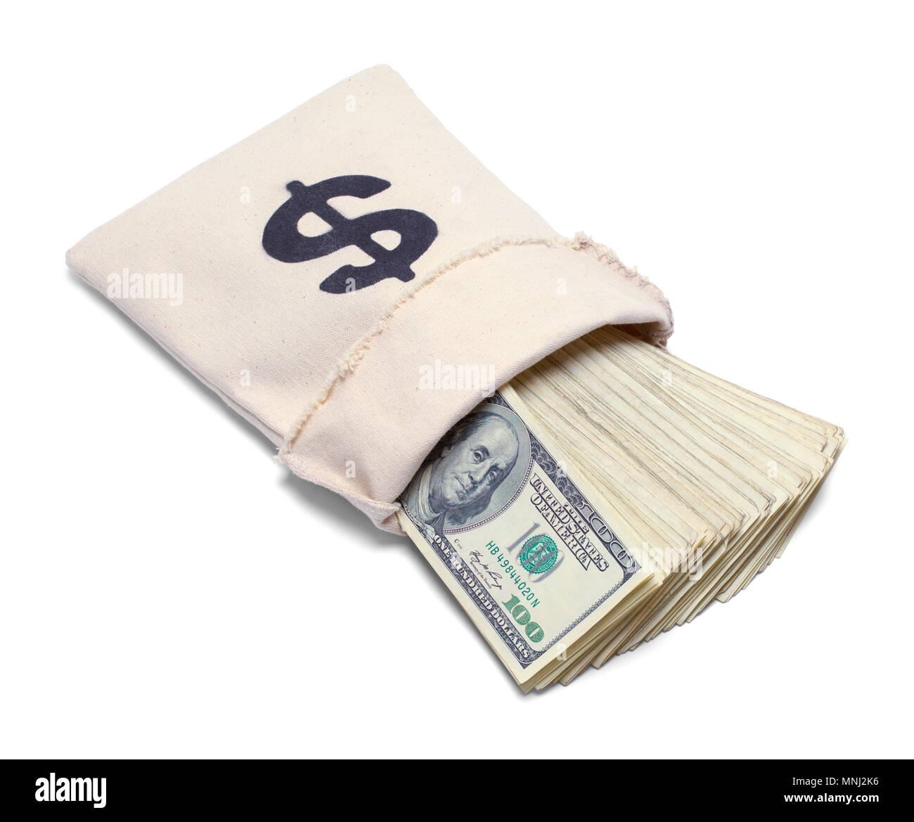 Sac de la banque avec de l'argent tomber isolé sur blanc. Banque D'Images
