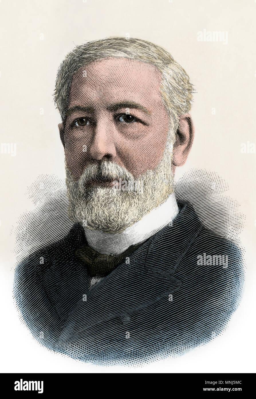 James G. Blaine, Secrétaire d'État, 1880. À la main, gravure sur bois Photo Stock