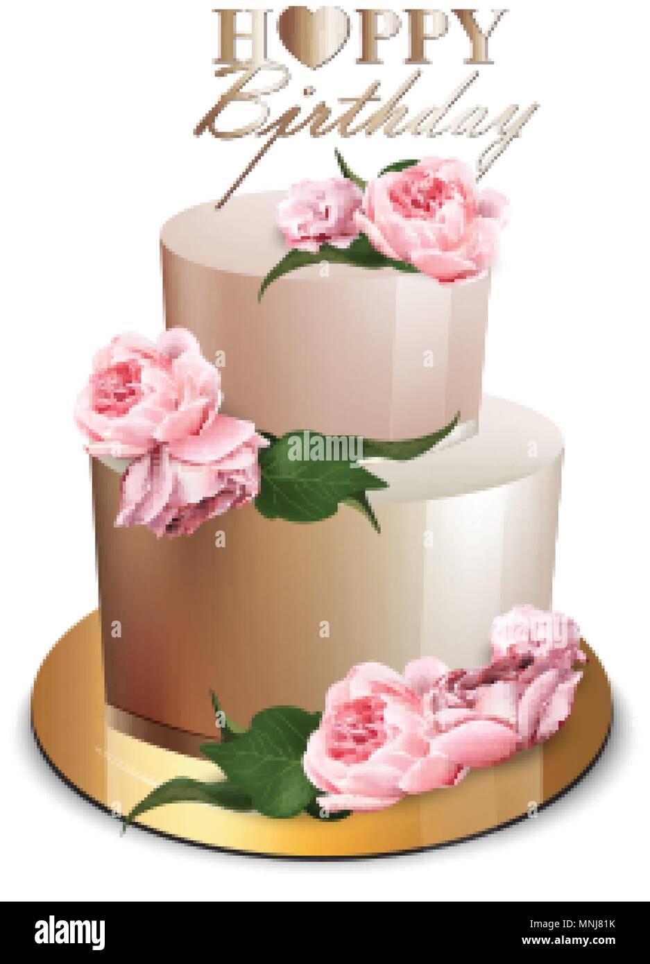 Joyeux Anniversaire Cake Vector Realiste Anniversaire