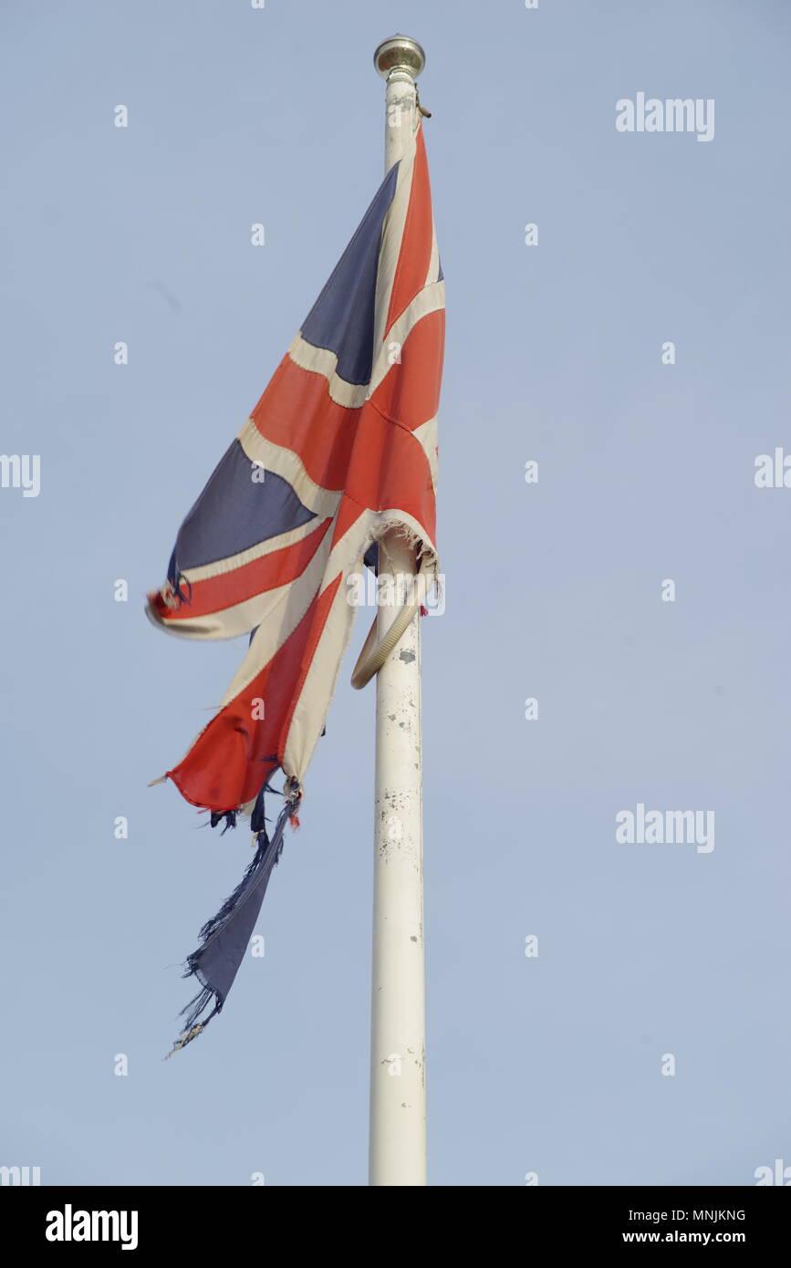La Ragged Royaume-uni Union Jack Flag, Hull, Royaume-Uni Banque D'Images