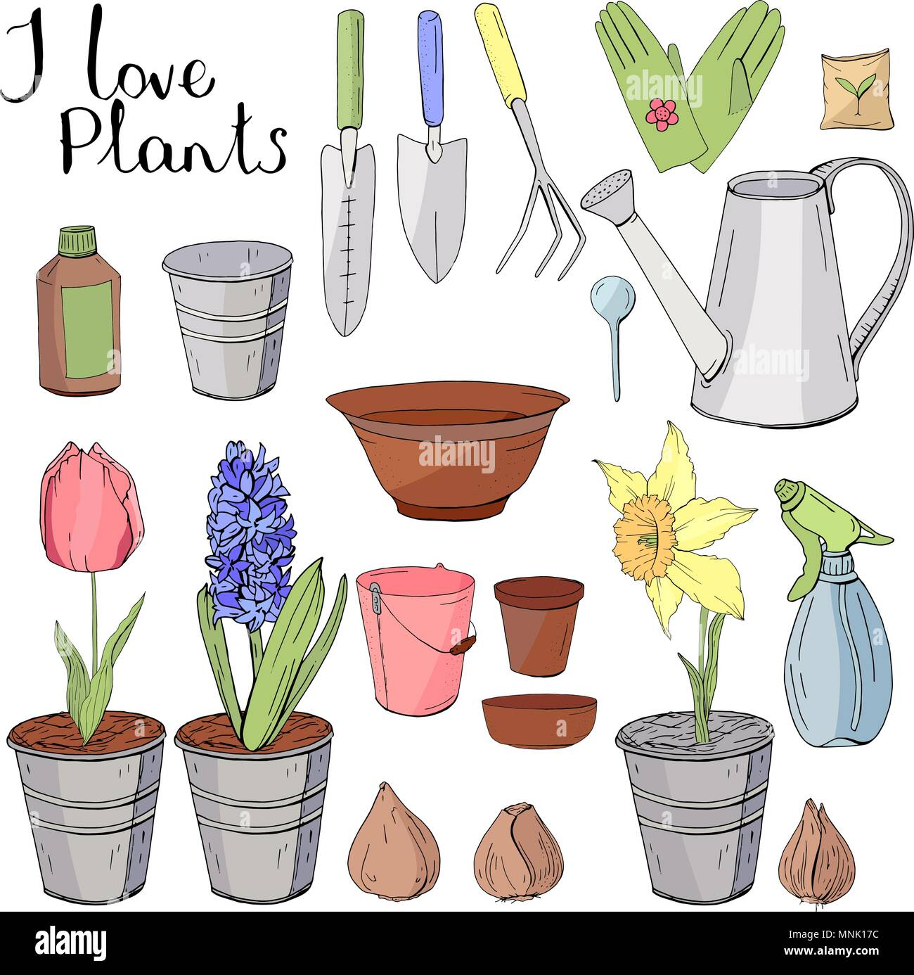 Jeu de couleurs avec différents outils de jardinage Vecteurs ...