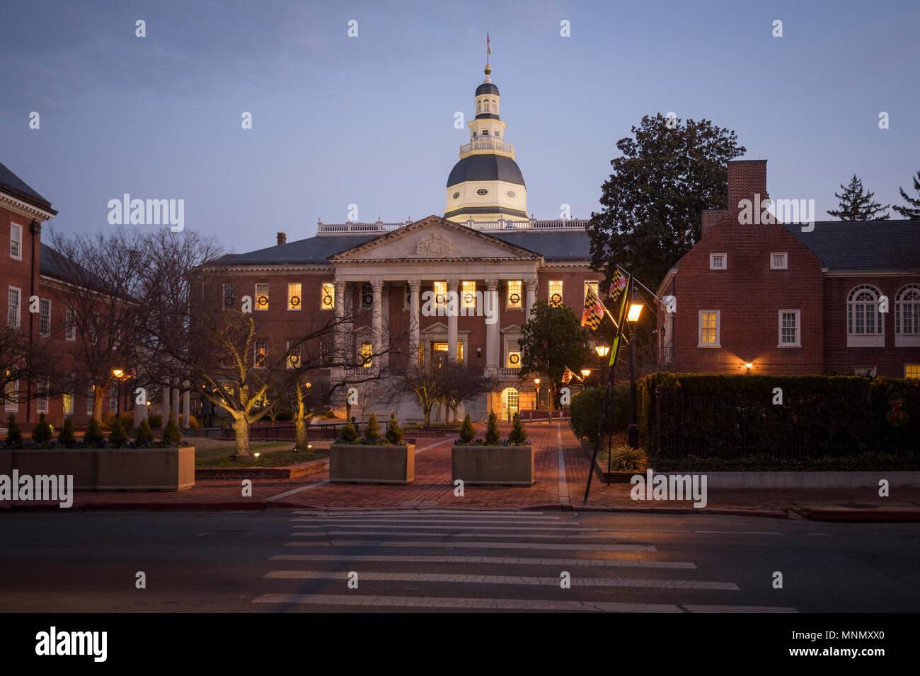 La State House, Annapolis Maryland, est le foyer de l'état gouvernement. Banque D'Images