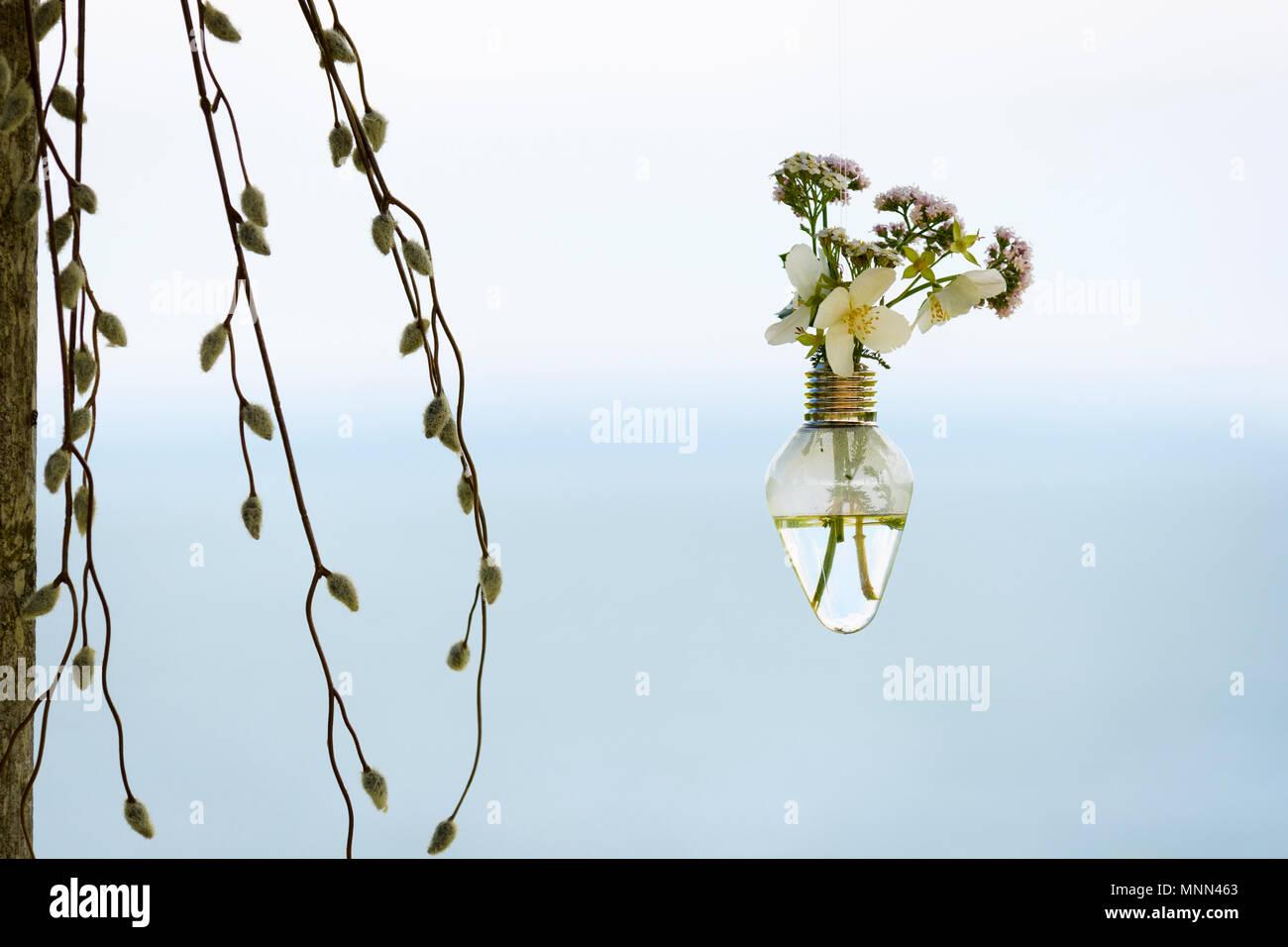Ampoules ancienne utilisé comme un vase décoratif avec des fleurs sauvages. Banque D'Images