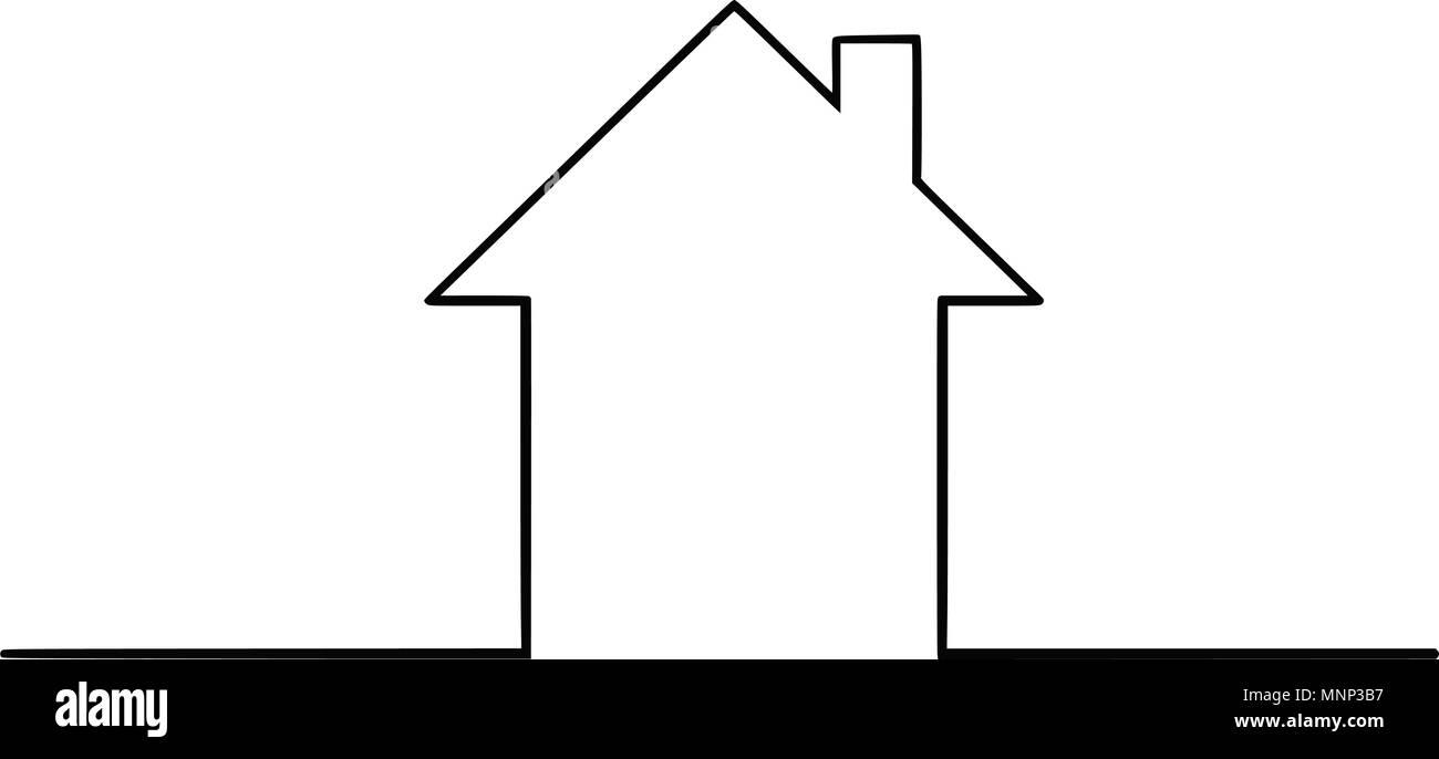 Vector Illustration Dessin Artistique De La Maison De Famille Simple Ossature Image Vectorielle Stock Alamy