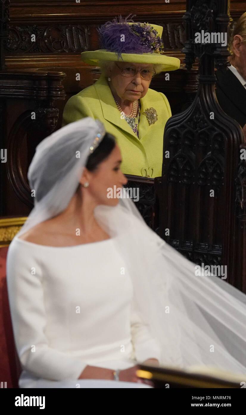 La reine Elizabeth II lors du mariage du prince Harry et Meghan Markle à la  Chapelle St George, le château de Windsor.
