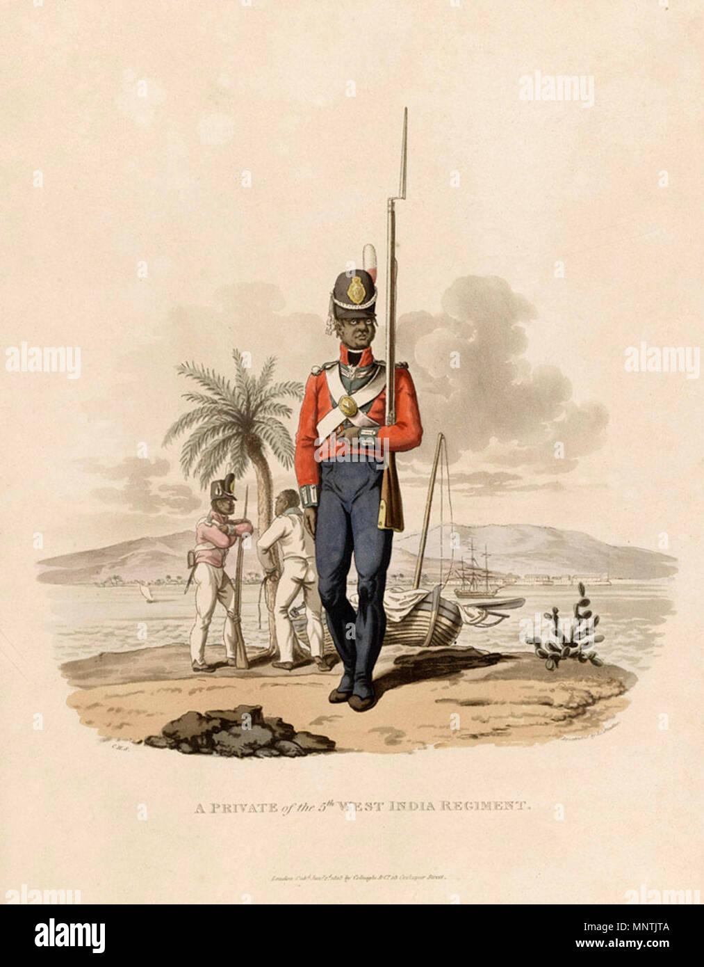 . Anglais: Secteur du 5e Régiment de l'ouest de l'Inde. L'aquatinte par J. C. Stadler après Charles Hamilton Smith, 1812. De nombreux soldats stationnés dans les Caraïbes a succombé à des maladies tropicales. L'échec de l'intervention britannique à Saint-Domingue (Haïti) moderne était aussi très coûteux en termes de main-d'oeuvre. L'armée a été obligée de chercher ailleurs des recrues et entre 1795 et 1807 selon les estimations, 13 400 le créole et les nouveaux arrivants africains esclaves ont été achetés pour l'ouest de l'Inde régiments. La dépendance à l'égard des conscrits de l'esclave était un facteur dans le prolongement de la traite des esclaves de 1807. La plupart soldat esclave Photo Stock