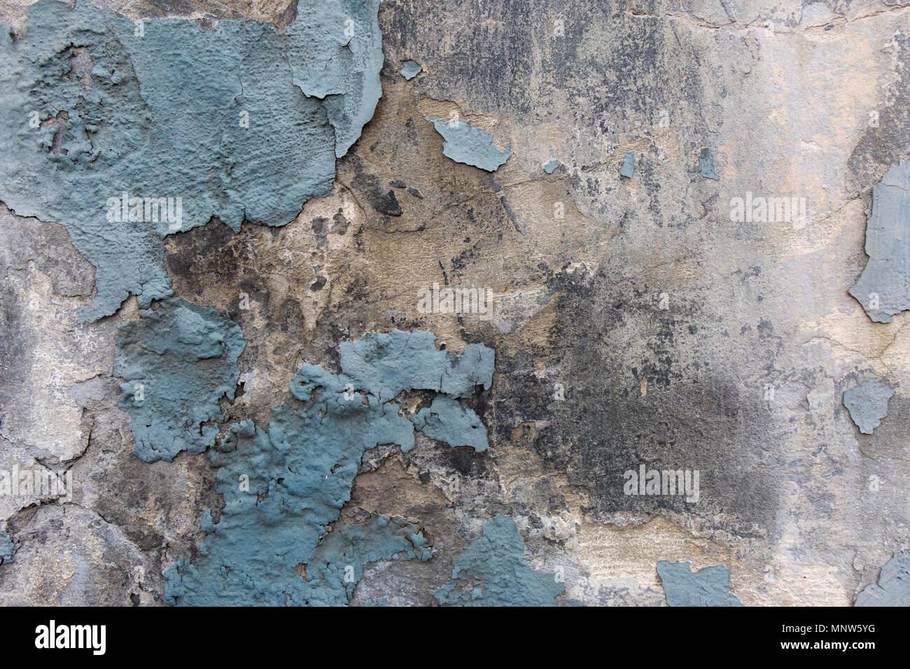 Décollement De Peinture Bleu Mur Plâtre Gunge.