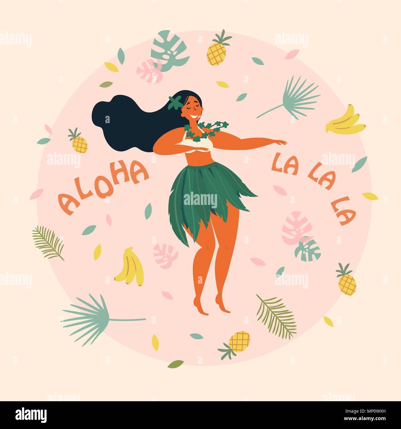 Coloriage De Danseuse De Hula.Danseuse De Hula Hawaiian Girl Illustration Luau Fest Vecteurs Et