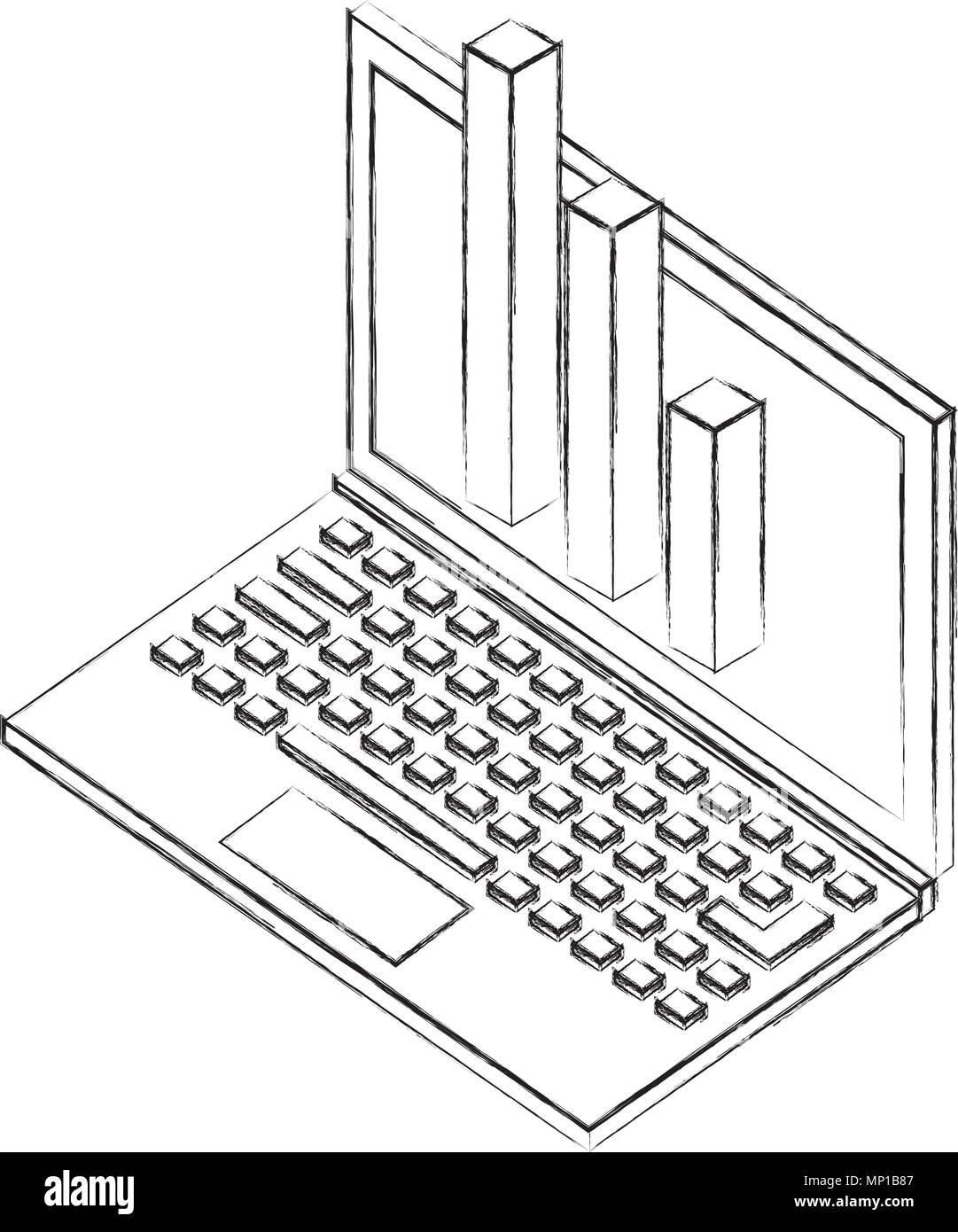 Tableau financier statistique portable conception isométrique Illustration de Vecteur