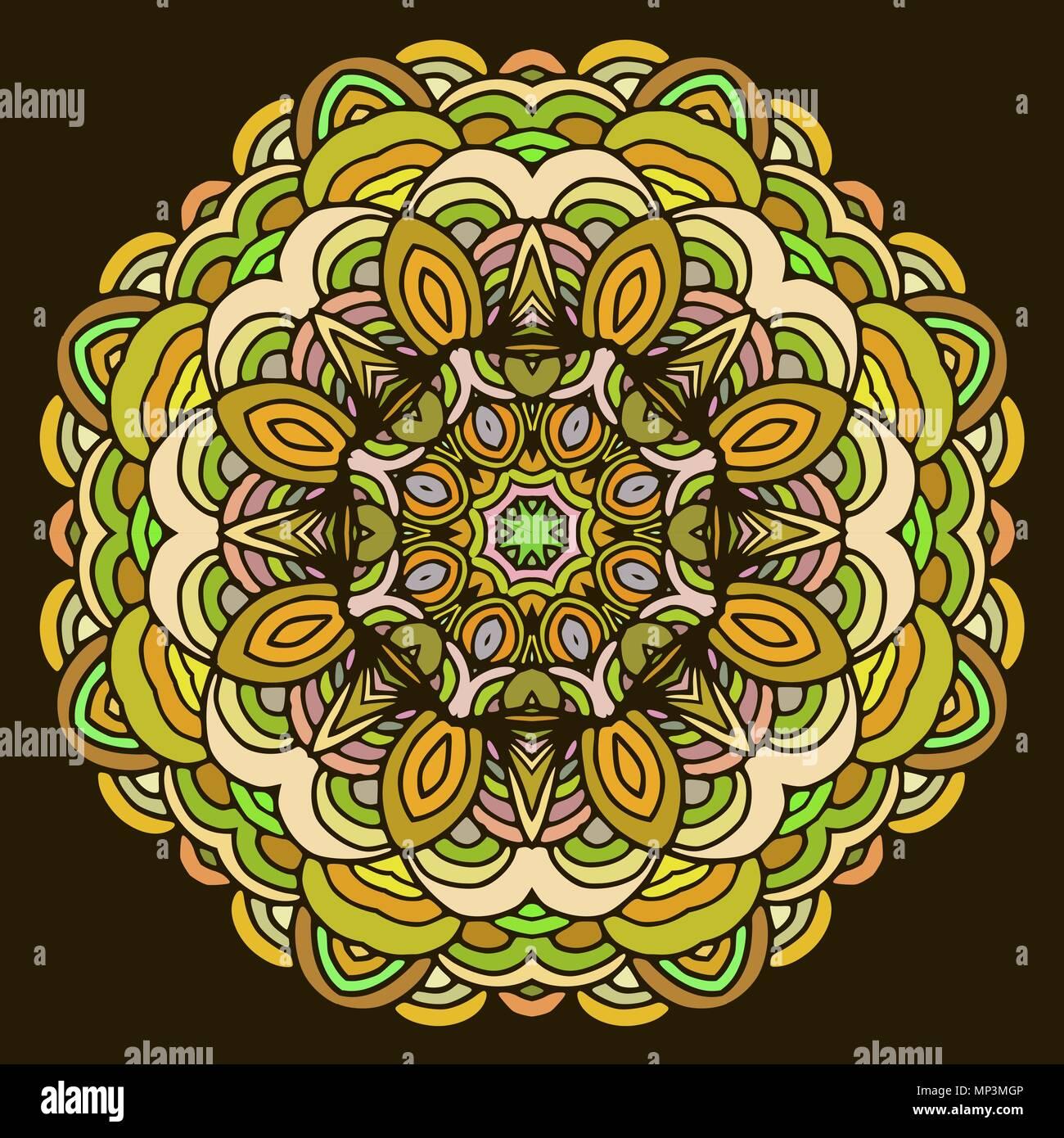 La Main Ornement Colore Mandala Sur Fond Sombre Cercle Geometrique