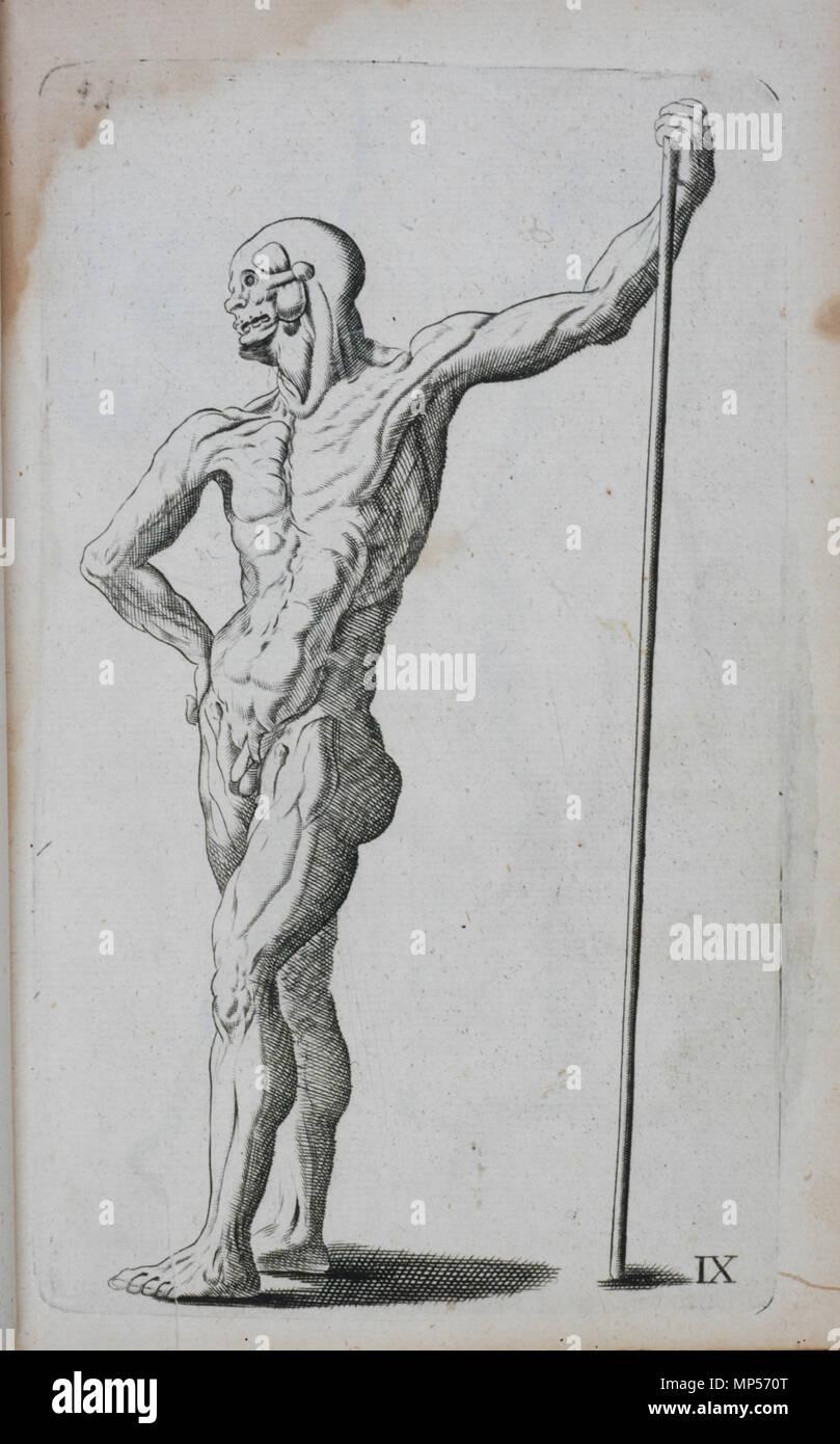 Dessin Representant La Mort ix de la plaque, l'homme avec le personnel . anglais : planche ix, l