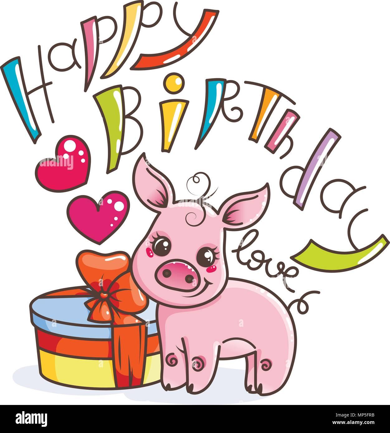 Joyeux Anniversaire Cute Cartoon Bebe Cochon Avec Maison De