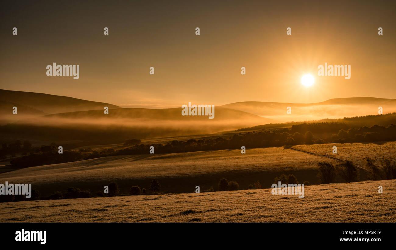 Lever du soleil sur les collines de Glenlivet dans les Highlands, Ecosse, Royaume-Uni Photo Stock
