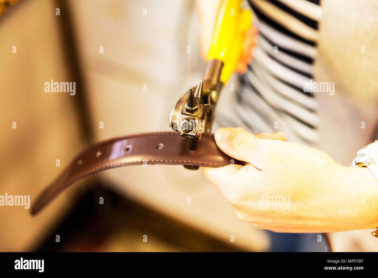Perforatrice, perçant des trous dans la ceinture, l'utilisation de l'outil de perforation, perforation, poinçonnage trou de perforeuse de cuir, coupe, trou dans le cuir, Photo Stock
