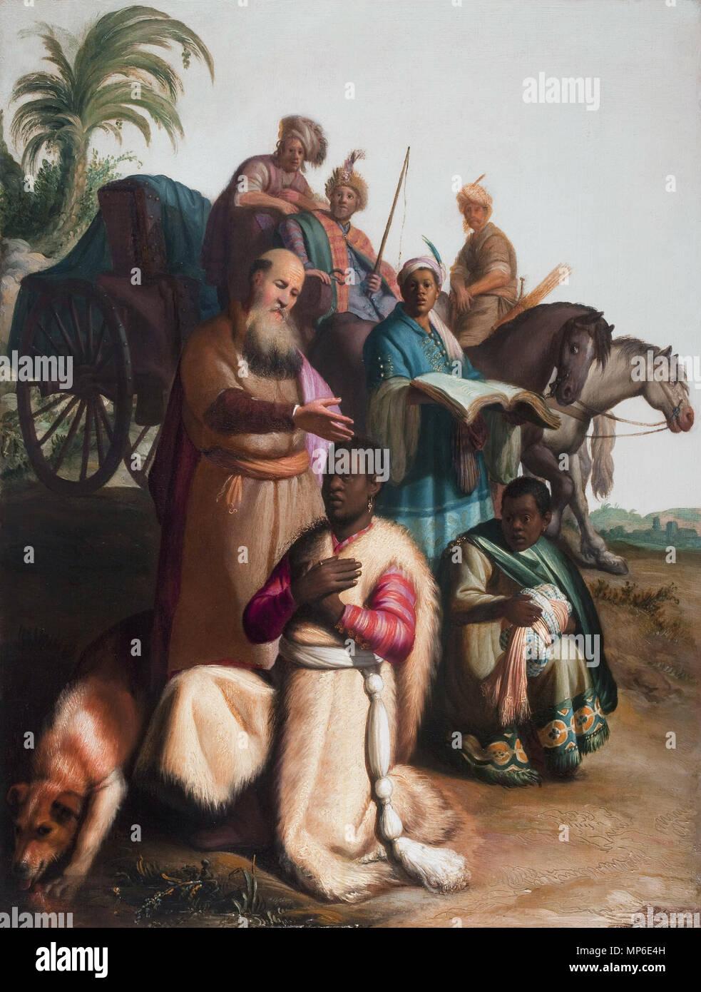 Le baptême de l'eunich *huile sur panneau 63,5 x 48 cm * *signé b.r.: RH 1626 Le baptême de l'eunich par Rembrandt, Rembrandt, 1052 Le baptême de l'eunuque, 1626, Museum Catharijneconvent, Utrecht Banque D'Images