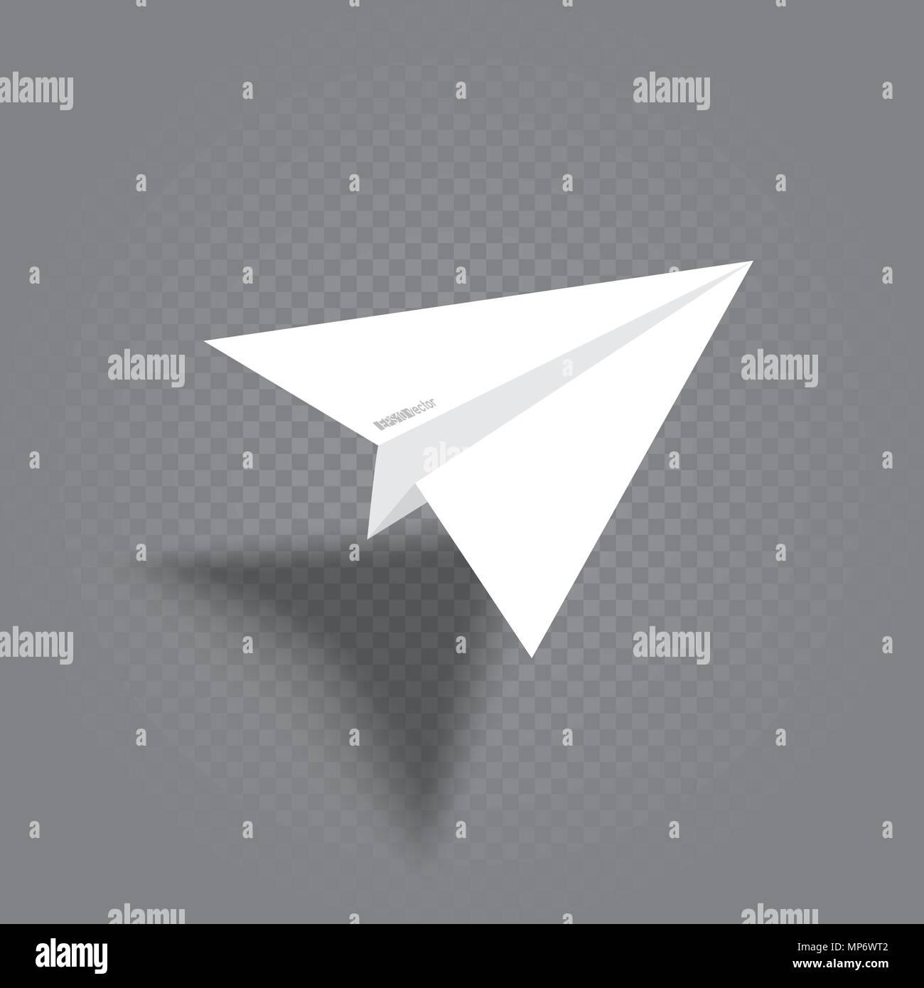 Avion origami blanc avec ombre Illustration de Vecteur