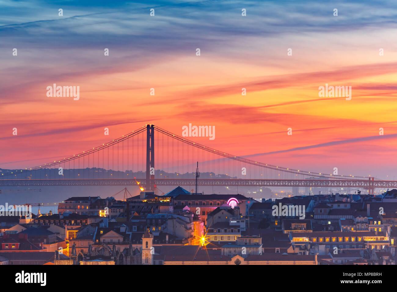 Centre historique de Lisbonne, Portugal, au coucher du soleil Photo Stock
