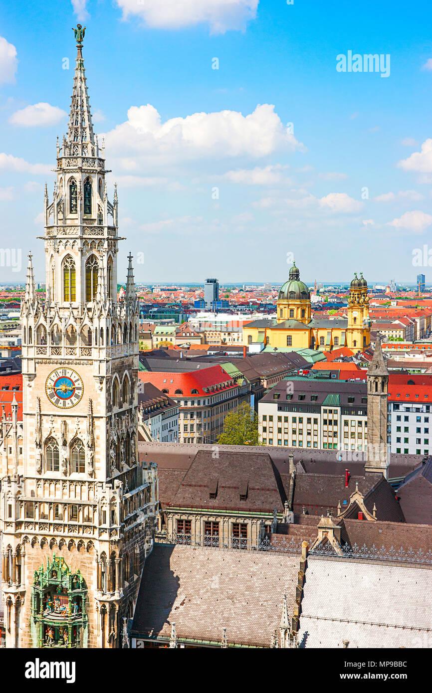 Nouvel hôtel de ville en Murich, Allemagne Photo Stock