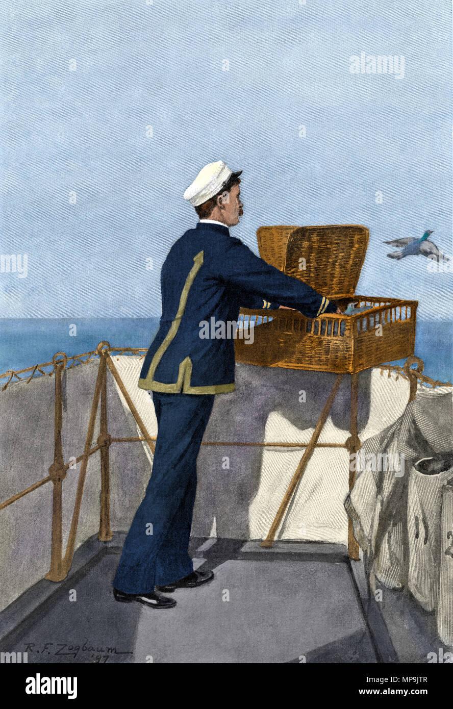 Pigeon voyageur libéré de l'USS 'Iowa' avec un message d'accueil, port 1897. Demi-teinte de couleur numérique d'une illustration Photo Stock