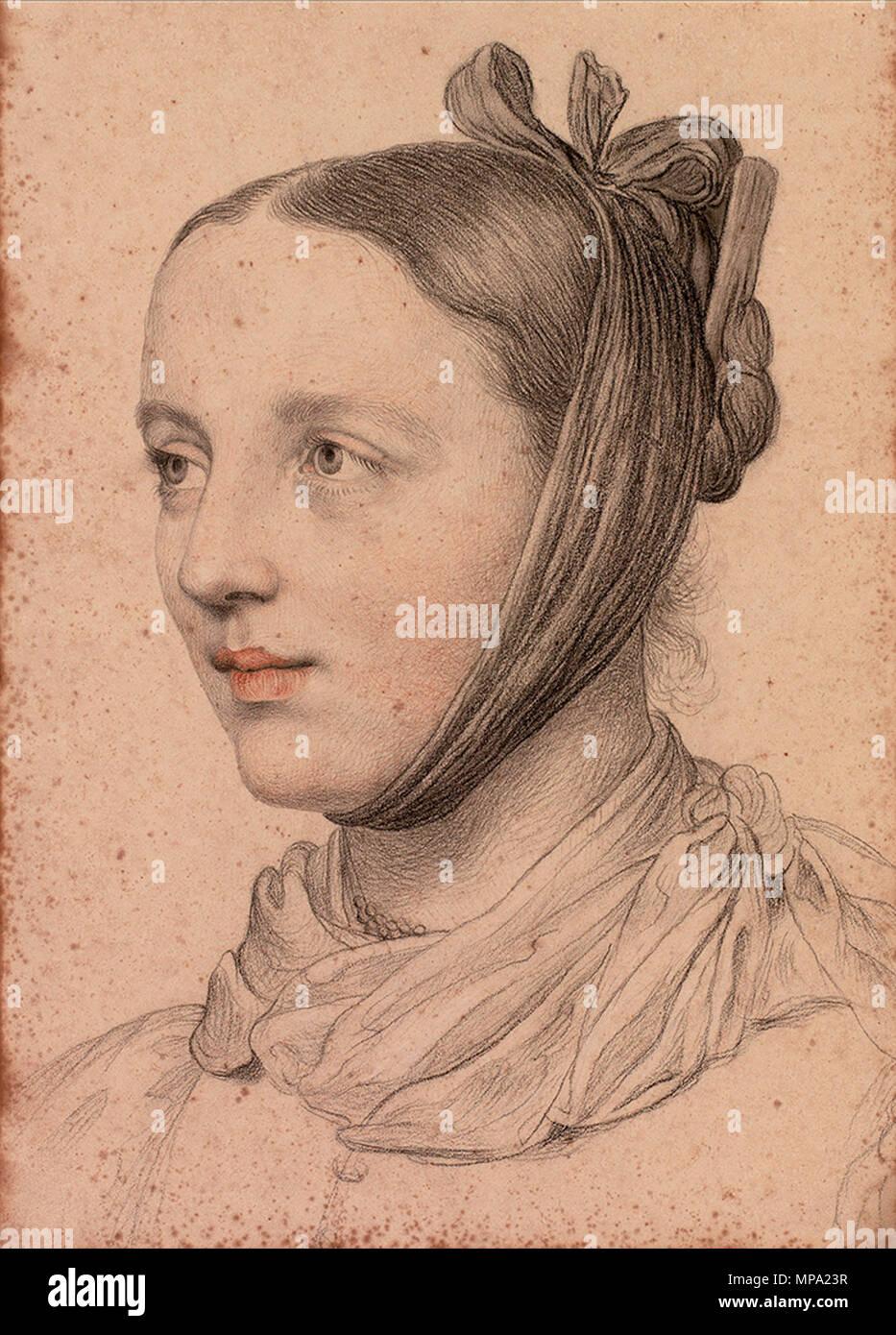 Portrait Einer Jungen Frau Mit Gezopfter Kinnschal Und Frisur Kohle