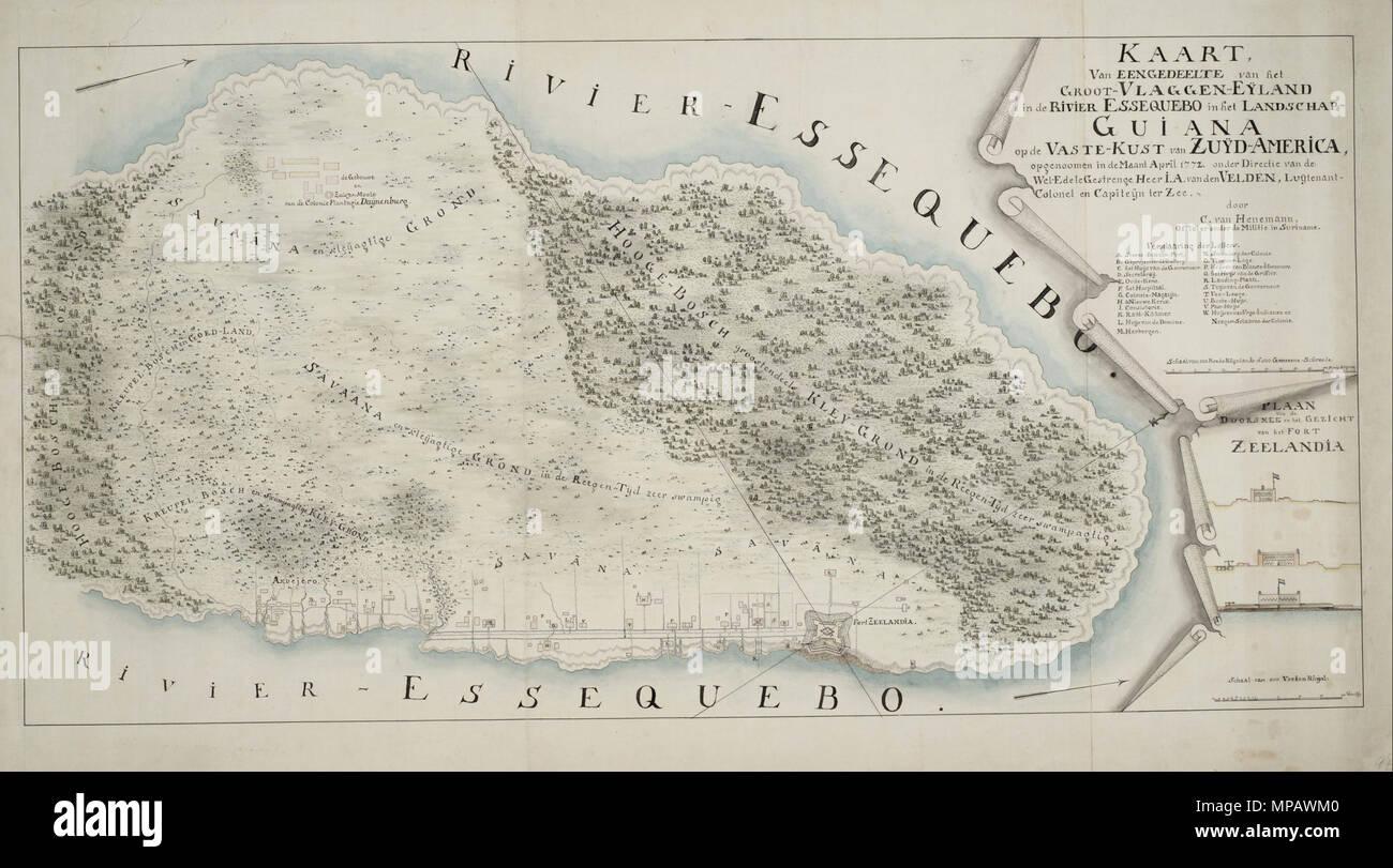 . Nederlands: Kaart van een habitude, Groot-Vlaggen Eijland van het-in de Rivier dans Landschap-Guiana Essequebo het op de vaste-kust van Zuijd-America. Het Groot Eiland Vlaggen strategisch ligt in de Rhône rivier (huidig Brits Guyana). Daar werd door de dan ook het Zeeuwen opgericht Fort Zeelandia. De legenda van deze handschriftkaart heeft een gedetailleerd dans wat zich op inzicht dit eiland bevond. Behalve overal de aanwezige moerassige bebossing gronden, savanne en laat de carte van de nederzetting aan de voet van het fort zien hoe Zo'n 'volksplanting» samengesteld a été. De Kerk, het Photo Stock
