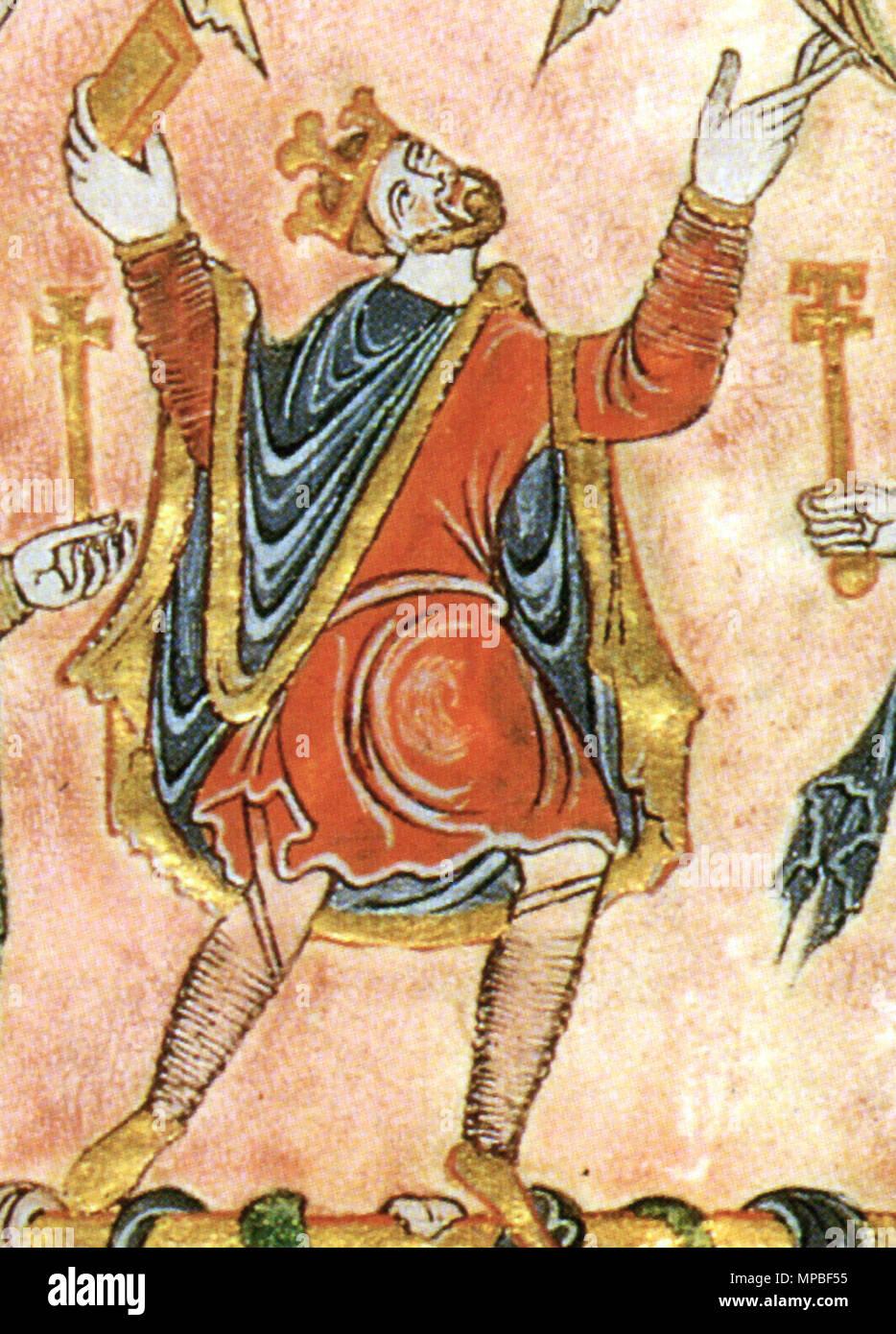 . Détail de la miniature de la nouvelle Charte Minster, 966, montrant le roi Edgar . 966. 923 Inconnu 966 Nouvelle Charte Minster détail Edgar Photo Stock