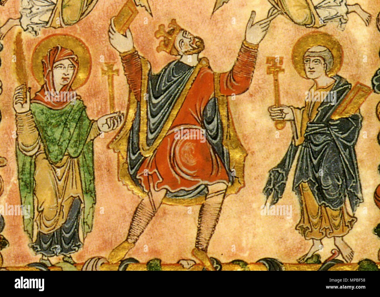 . Détail de la miniature de la nouvelle Charte Minster, 966, montrant le roi Edgar flanqué par la Vierge Marie et St Peter . 966. 923 Inconnu 966 détail Nouvelle Charte Minster Photo Stock
