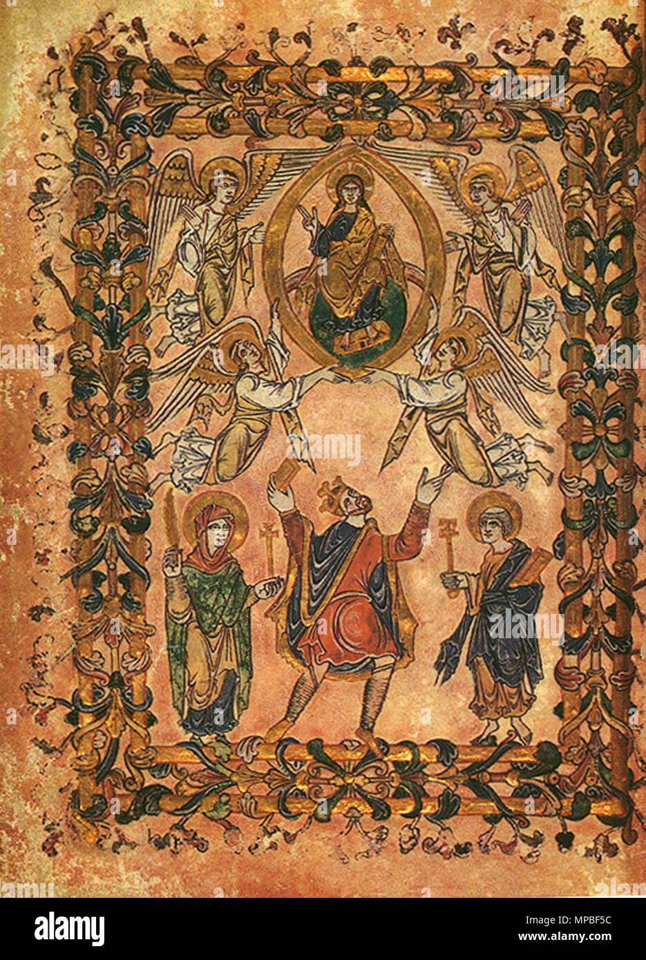 . À partir de la Miniature la nouvelle Charte Minster, 966, montrant le roi Edgar flanqué par la Vierge Marie et saint Pierre Présentation de la charte au Christ. 966. 923 Inconnu 966 Nouvelle Charte Minster Photo Stock