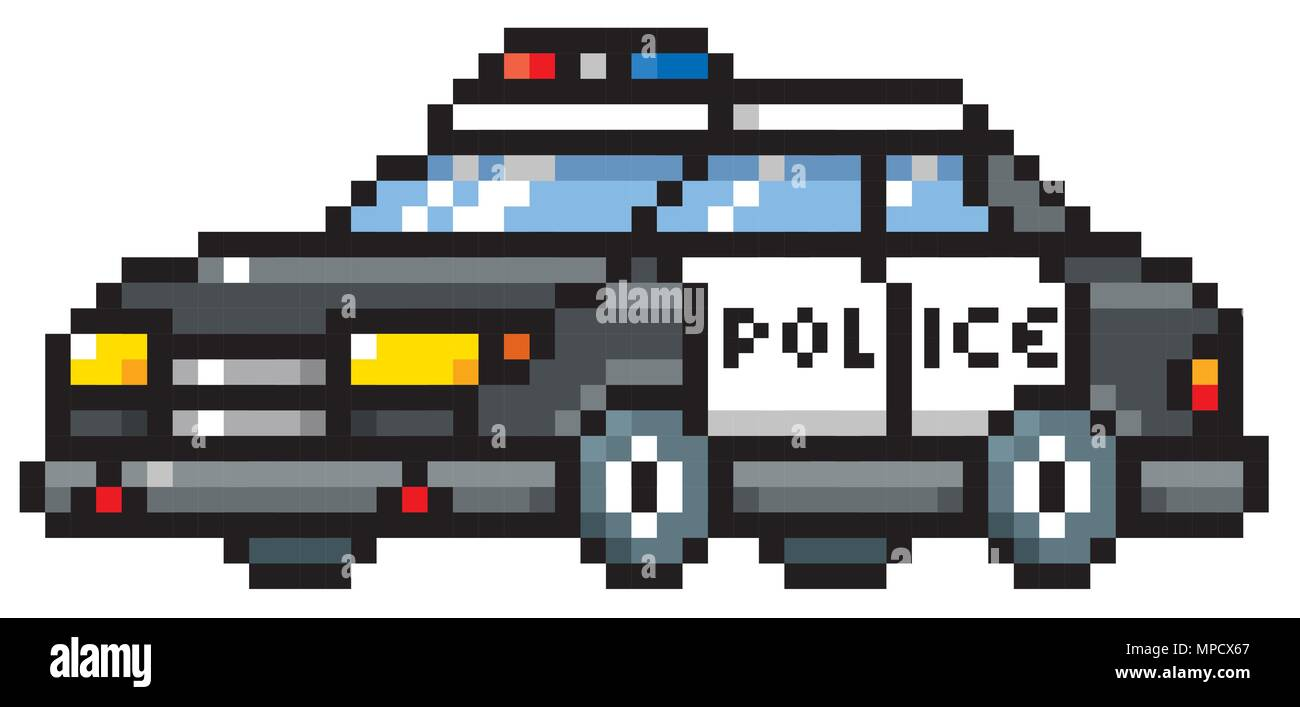 illustration vecteur de dessin anim voiture de police conception de pixel vecteurs et. Black Bedroom Furniture Sets. Home Design Ideas