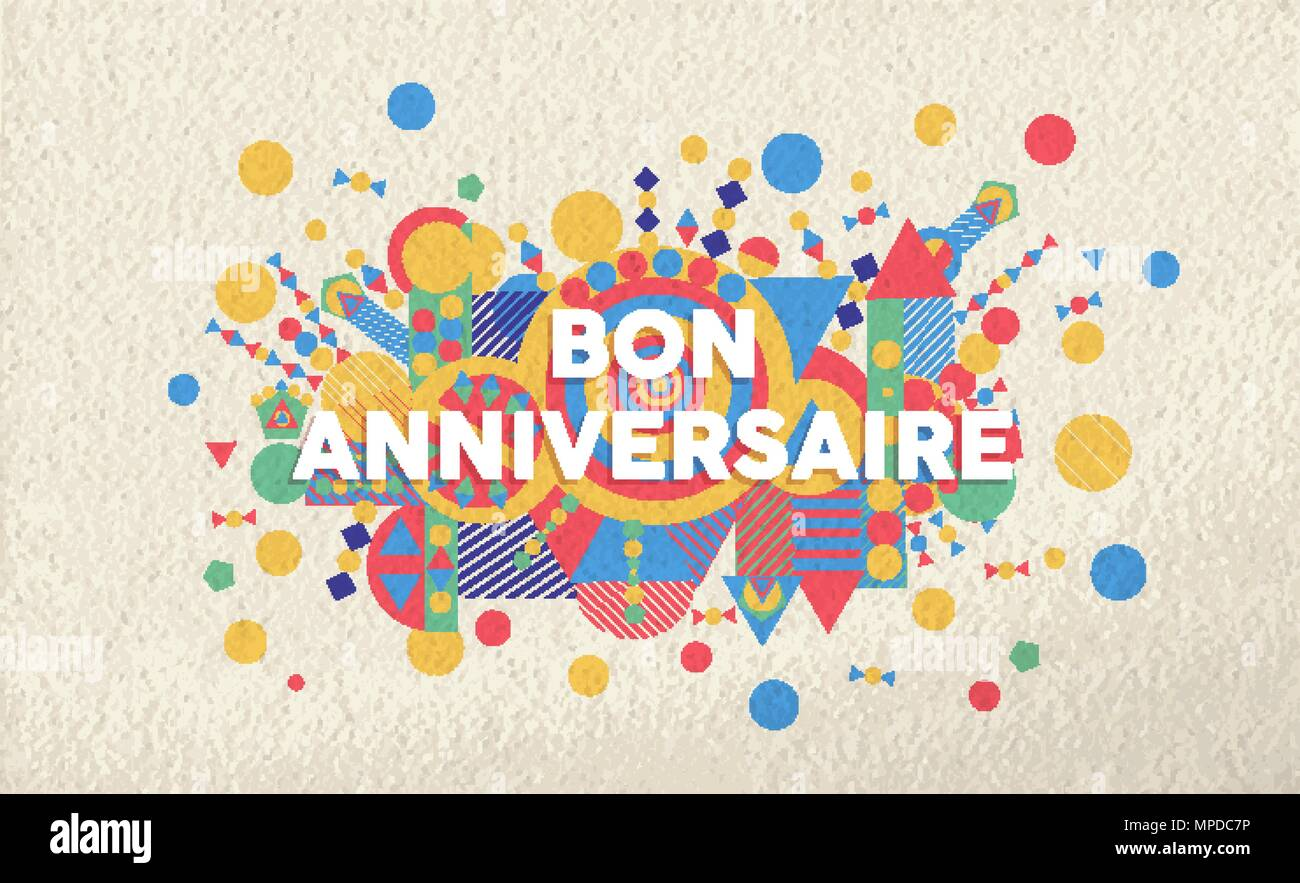 Joyeux Anniversaire Carte De Voeux Illustration En Langue Francaise