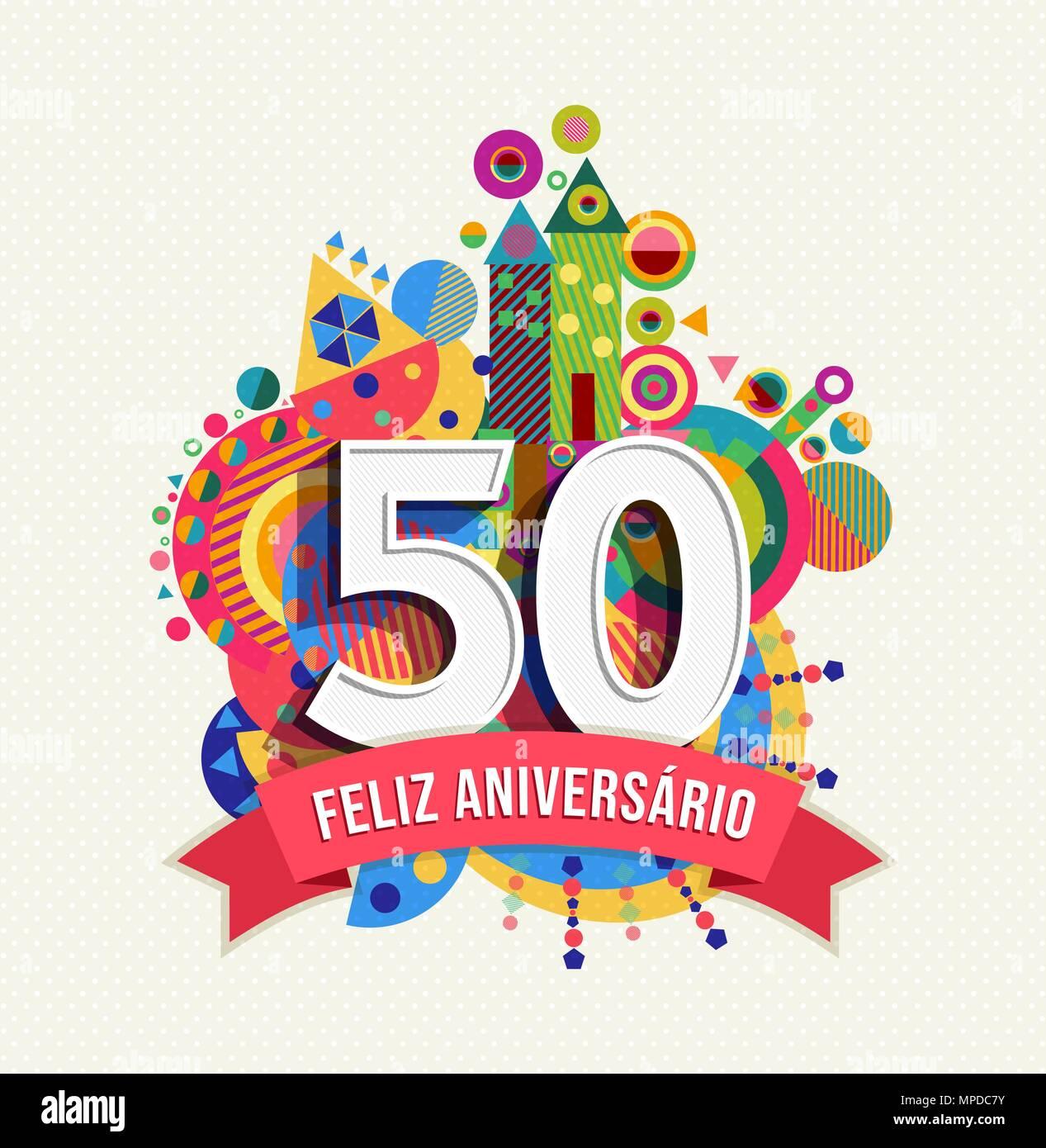 Joyeux Anniversaire 50 Ans Design Amusant Avec Le Numero En Langue