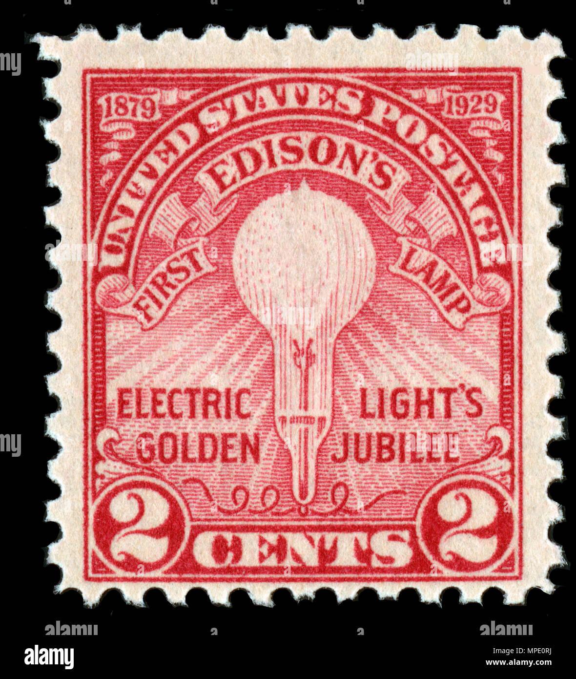 Un timbre-poste avec ampoule d'Edison Banque D'Images
