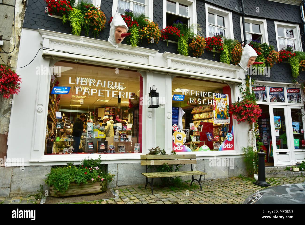 Papeterie et librairie à Stavelot, Belgique Photo Stock