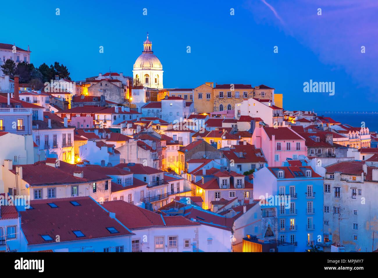 Nuit à l'Alfama, Lisbonne, Portugal Photo Stock