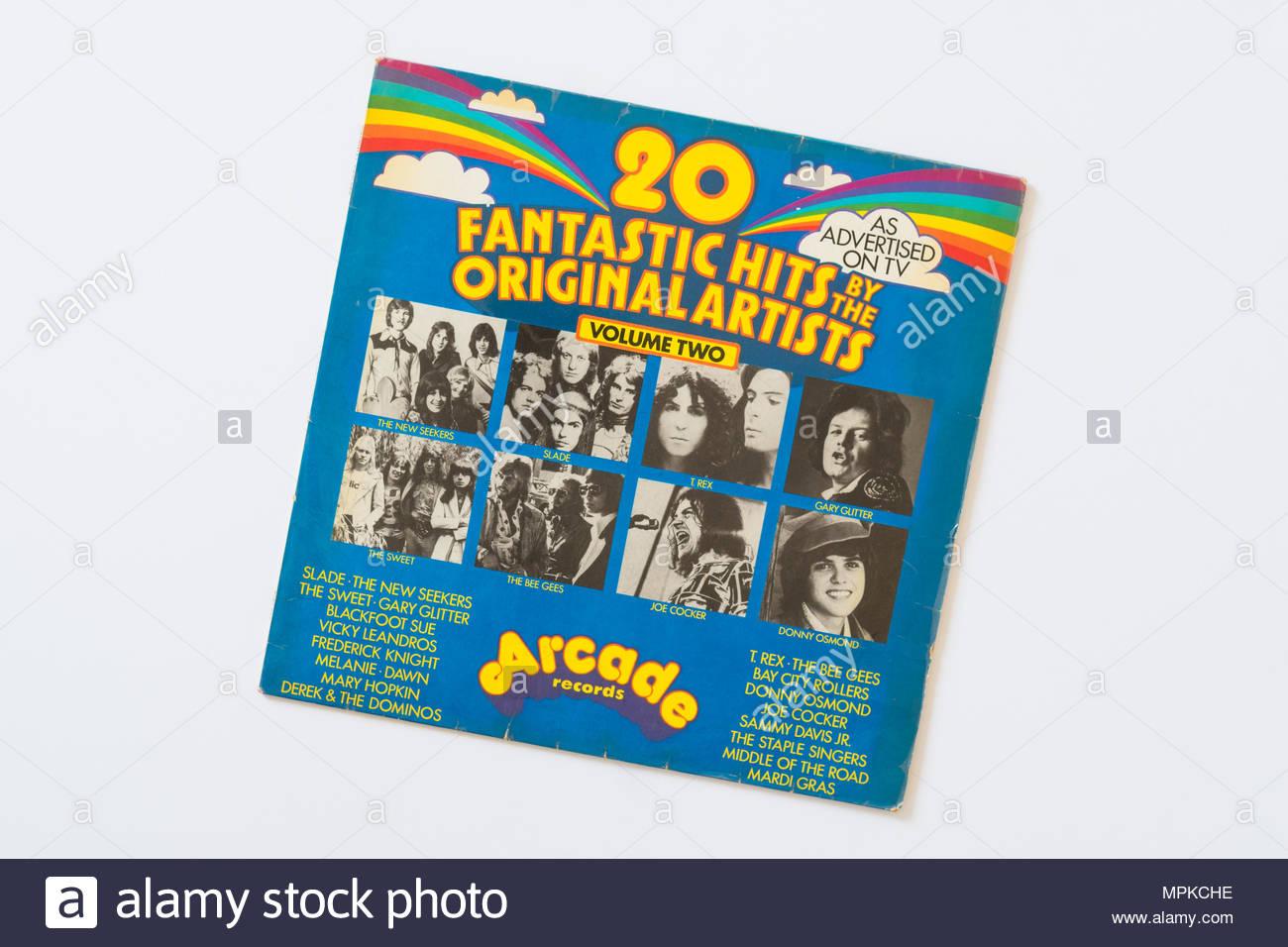 Arcade Records 1970 compilation musique disque vinyle - 20 hits fantastique par l'artistes originaux Photo Stock