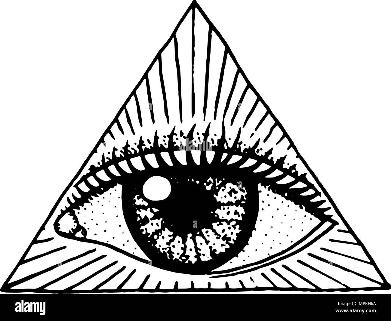 Face A L œil Detaillees Dans Le Triangle Fashion Art De Tatouage