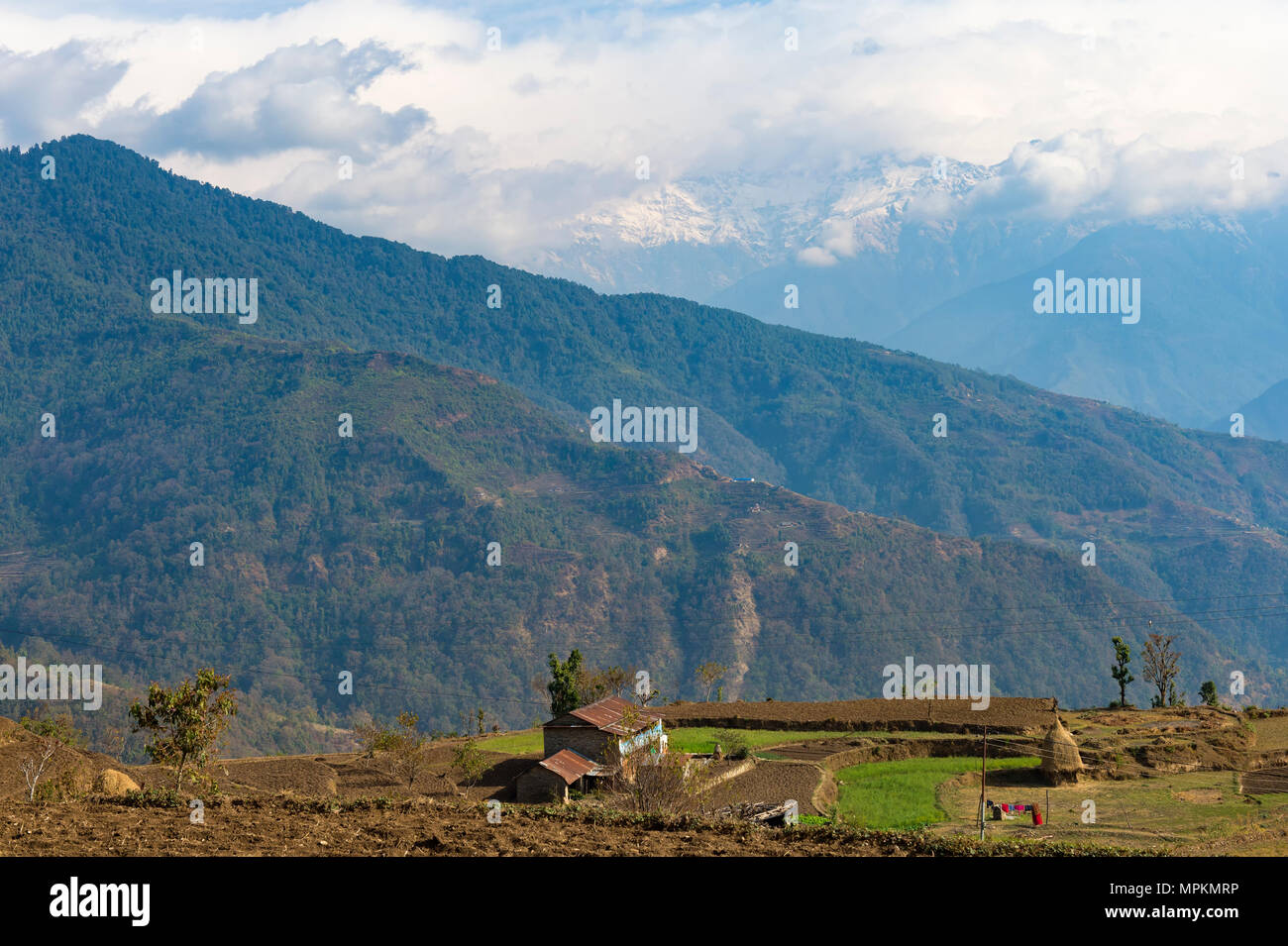 De l'Himalaya vu de l'Dhampus, village de montagne au Népal Photo Stock