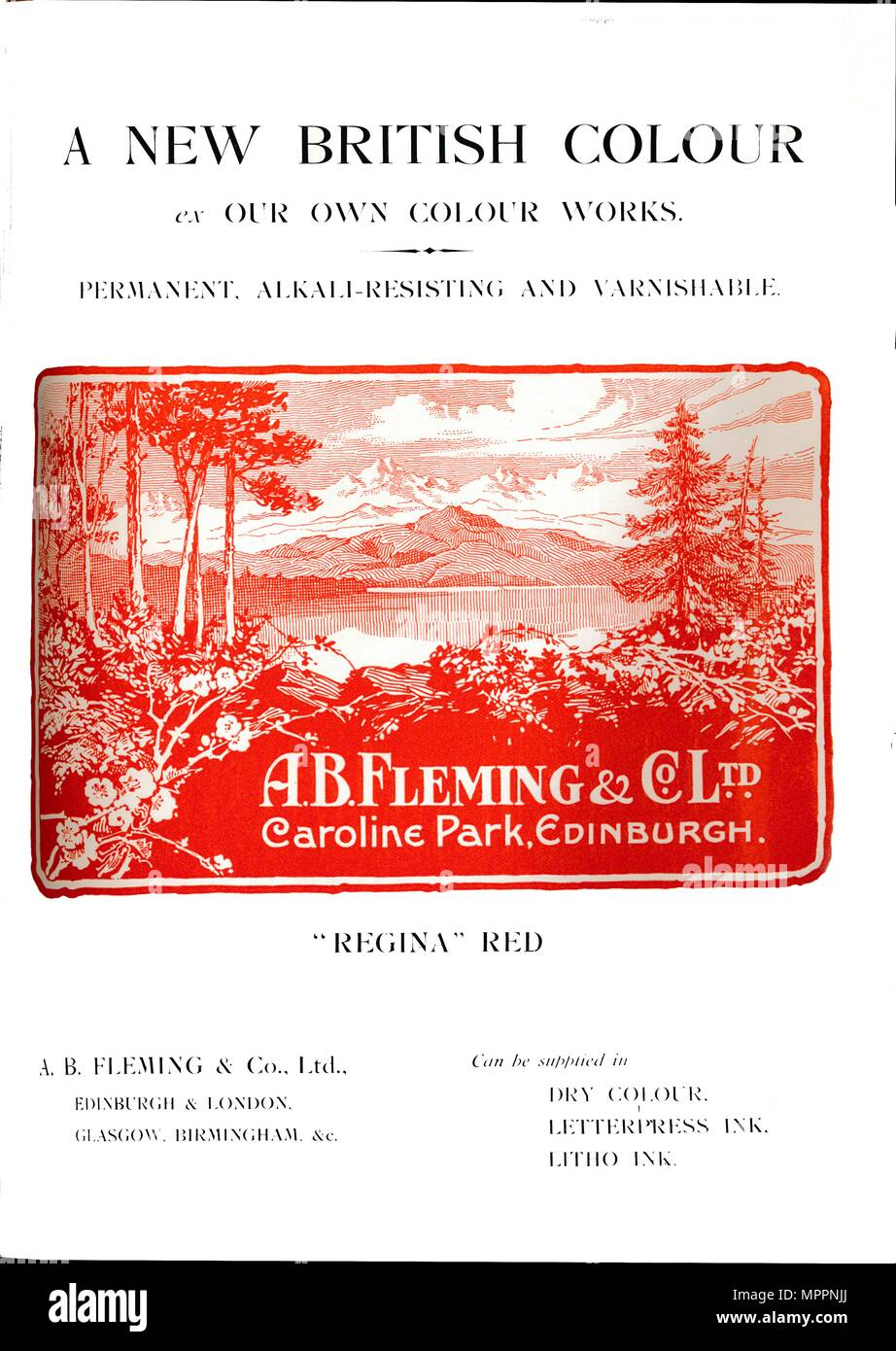 'A. B. Fleming & Co., Ltd. annonce - Regina Red', 1919. Artiste : AB Fleming & Co. Photo Stock