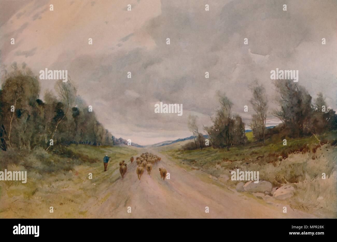"""""""Sur un Northumberland Road', 20e siècle, (1935). Artiste: Robert J. Hewitt. Photo Stock"""