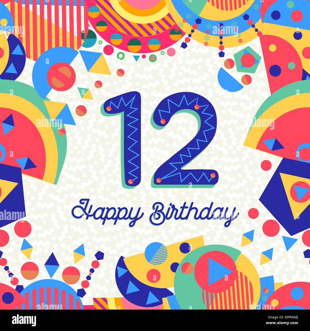 Joyeux Anniversaire 12 Ans 12 Design Amusant Avec Etiquette De Texte
